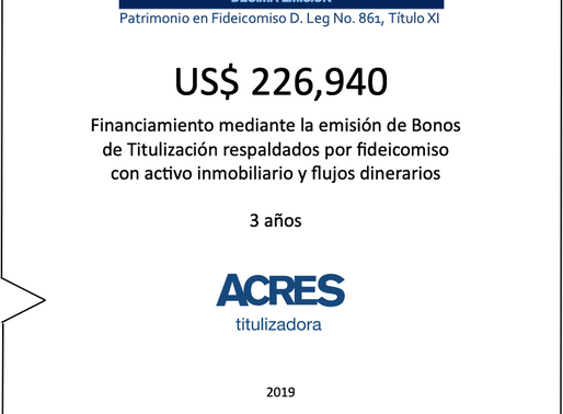 ACRES Titulizadora concreta financiamiento a 3 años con respaldo inmobiliario