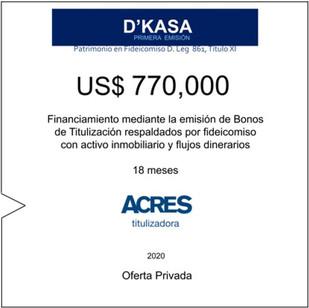 Fideicomiso de ACRES Titulizadora concreta financiamiento a 18 meses por US$ 770,000