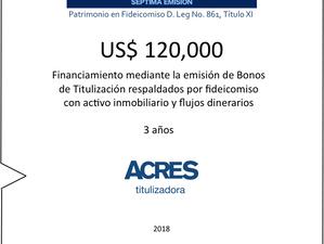 Financiamiento con fideicomiso con respaldo inmobiliario por ACRES Titulizadora
