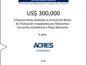 Fideicomiso con garantía inmobiliaria permitió el financiamiento realizado por ACRES Titulizadora po