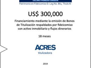 Fideicomiso de ACRES Titulizadora concreta financiamiento a 18 meses
