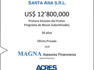 ACRES Sociedad Agente de Bolsa colocó bonos subordinados por USD 12.8 millones