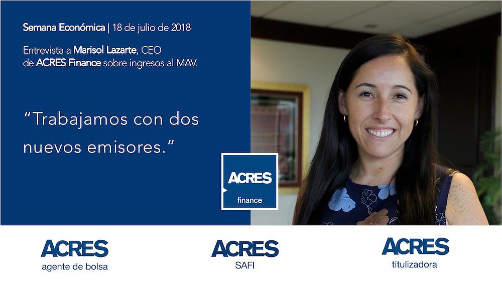 Semana Económica | Entrevista a Marisol Lazarte | ACRES Finance