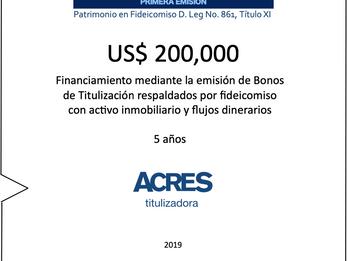 ACRES Titulizadora emite bonos a 5 años para financiamiento con respaldo inmobiliario