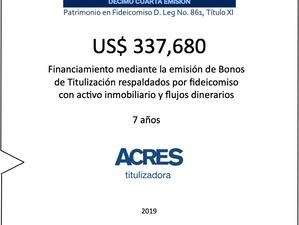 ACRES Titulizadora emitió nuevos bonos con respaldo inmobiliario