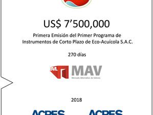 ACRES SAB y ECOSAC realizaron la mayor colocación histórica en el MAV de la Bolsa de Valores de Lima