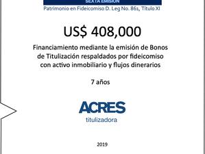 Nuevo financiamiento de ACRES Titulizadora con respaldo de inmueble