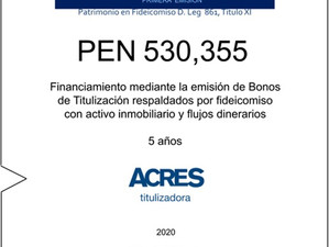 Fideicomiso de ACRES Titulizadora concreta financiamiento a 5 años por USD 530,355