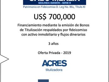 ACRES Titulizadora concreta nuevo financiamiento mediante bonos con respaldo inmobiliario en fideico