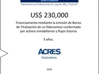 ACRES Titulizadora emitió bonos a 3 años para financiamiento respaldado por inmueble y flujos en fid