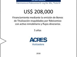 Financiamiento respaldado con bienes inmuebles y flujos con ACRES Titulizadora