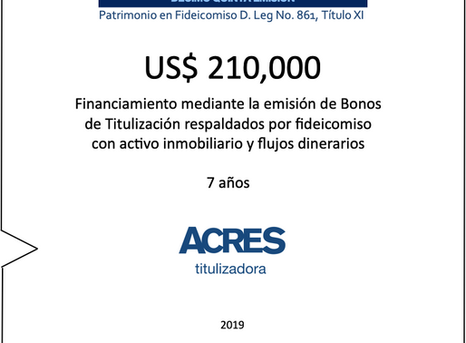 Con respaldo inmobiliario en fideicomiso ACRES Titulizadora emite bonos a 7 años