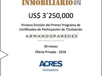 ACRES Titulizadora emitió valores por US$ 3.25 millones para financiar proyecto inmobiliario