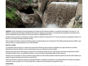 Se construirá la Central Hidroeléctrica Pucará con una inversión de 400 millones de dólares.