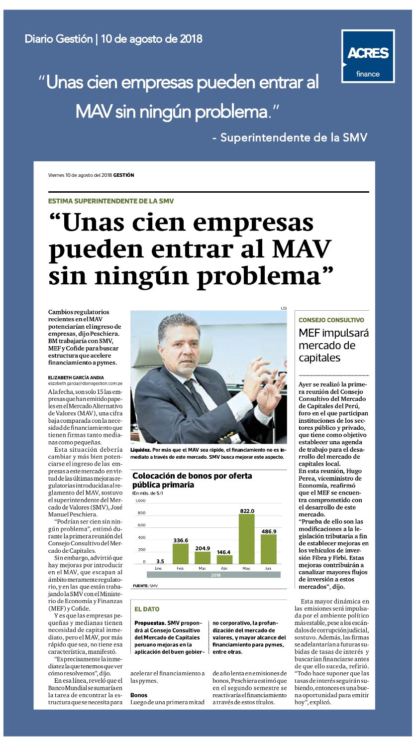 Diario Gestion | Financiamiento | SMV | MAV | ACRES
