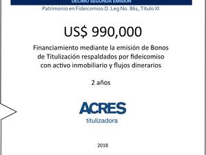 Financiamiento en mercado de capitales con fideicomiso inmobiliario con ACRES Titulizadora por USD 9