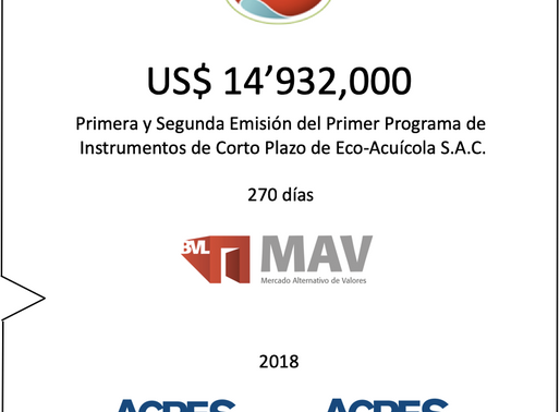 ACRES SAB concretó programa de colocaciones en Mercado Alternativo de Valores (MAV) por casi US$ 15