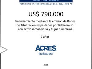 Financiamiento a 7 años en mercado de capitales con fideicomiso inmobiliario con ACRES Titulizadora