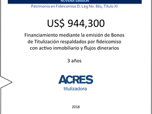 Financiamiento por USD 944 mil fue realizado por ACRES Titulizadora, con respaldo de fideicomiso con