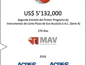 ACRES SAB realizó nueva colocación de ECOSAC en Mercado Alternativo de Valores (MAV) por US$ 5.13 mm