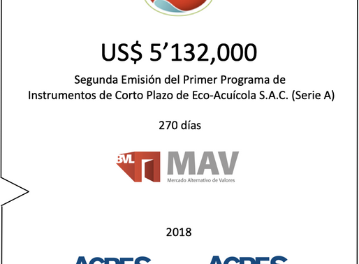 ACRES SAB realizó nueva colocación de ECOSAC en Mercado Alternativo de Valores (MAV) por US$ 5.13 mm