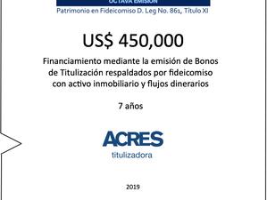 ACRES Titulizadora concreta financiamiento por 450 mil dólares con respaldo inmobiliario