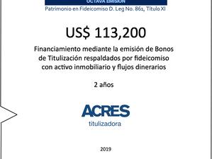 ACRES Titulizadora emite bonos a 2 años para financiamiento con respaldo inmobiliario