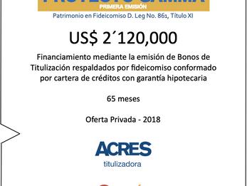ACRES Titulizadora concretó financiamiento de compra de cartera crediticia por USD 2.12 millones