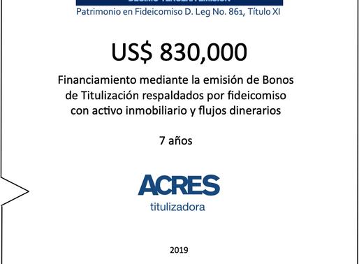 ACRES Titulizadora realiza financiamiento a 12 meses con respaldo inmobiliario