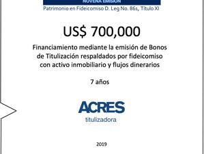 ACRES Titulizadora realiza financiamiento a 7 años con respaldo de inmuebles