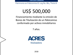 Con fideicomiso administrado por ACRES Titulizadora se concretó financiamiento a 7 años