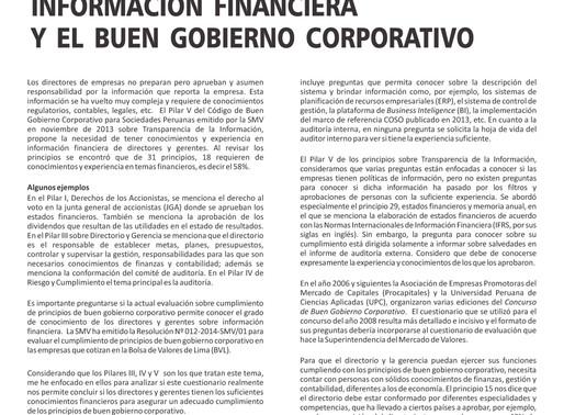 Información Financiera y el Buen Gobierno Corporativo