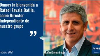 Rafael Zavala Batlle se incorporó como Director Independiente del grupo ACRES Finance