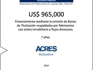 ACRES Titulizadora colocó bonos para financiamiento con respaldo inmobiliario