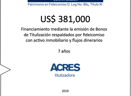 Con respaldo inmobiliario, ACRES Titulizadora implementó financiamiento a 7 años