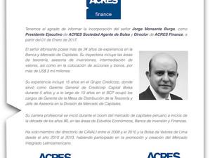 Jorge Monsante Burga se incorpora como Presidente de ACRES Agente de Bolsa
