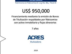 ACRES Titulizadora emite bonos a 7 años para financiamiento con respaldo inmobiliario