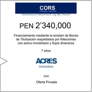 Fideicomiso de ACRES Titulizadora concreta financiamiento a 7 años por PEN 2' 340,000