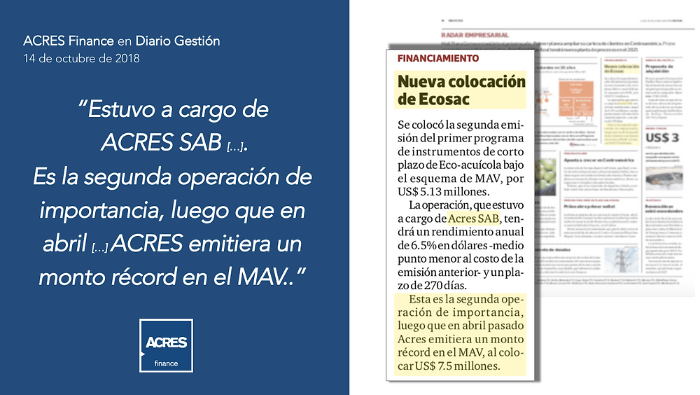 Diario Gestión | Mercado Alternativo de Valores MAV | ACRES Finance | ACRES SAB