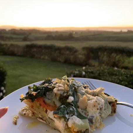 Chicken Pesto Lasagna w/ a vegetarian option :)
