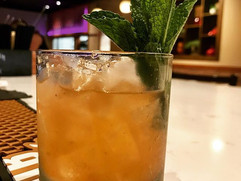 Going to the Ed Sheeran Concert_ Pregame with the 'thinking out loud'! Peach infused bourbon, elderflower liqueur, yellow chartreuse, angost