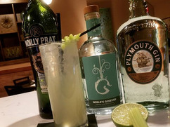 Celery Highball - Plymouth gin, Wigle Genever, Noilly Prat Dry Vermouth, Celery syrup, Lime, Seltzer__We have always had an infatuation with