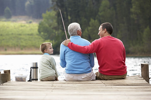 Son, Grandfather, and Father Fishing