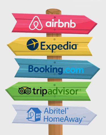Plateforme deréservation Airbnb Expedia Bookin.com Tripadvisor Abritel Homeaway