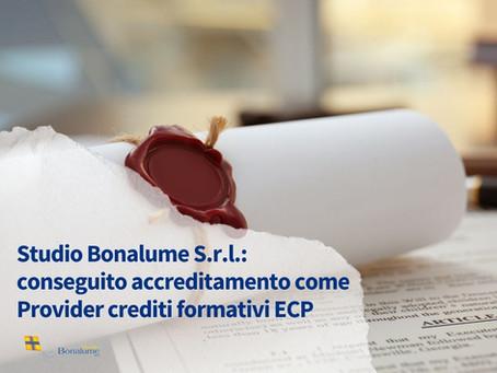 Studio Bonalume S.r.l.: conseguito accreditamento come Provider crediti formativi ECP