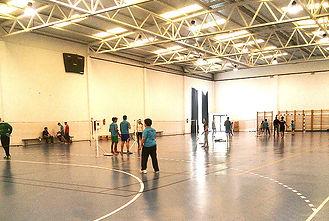 Interior del Pabellón IES Puerto del Carmen donde se practica el badminton