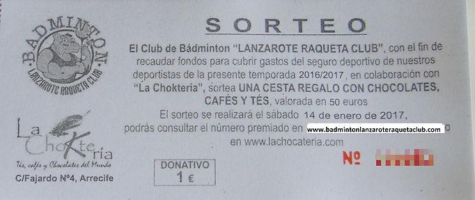 Sorteo La Chocatería - Badminton Lanzarote
