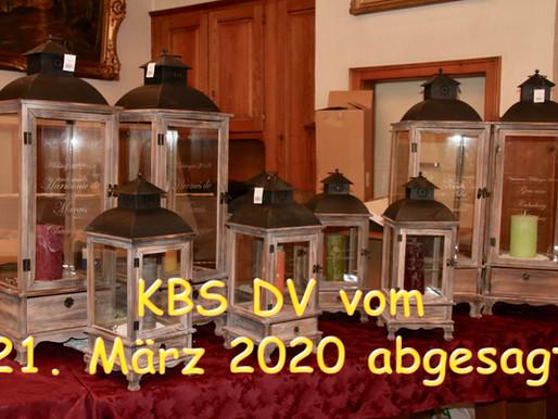 Wegen dem grassierenden Coronavirus wird die KBS-DV vom 21. März 2020 abgesagt!