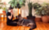 Dog in front of plants with woman