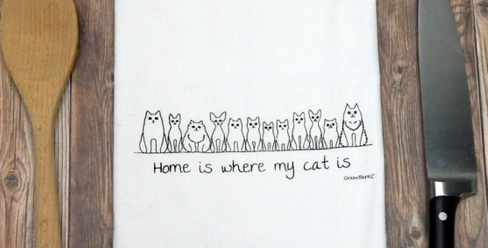 Home is Where My Cat Is Kitchen Towel